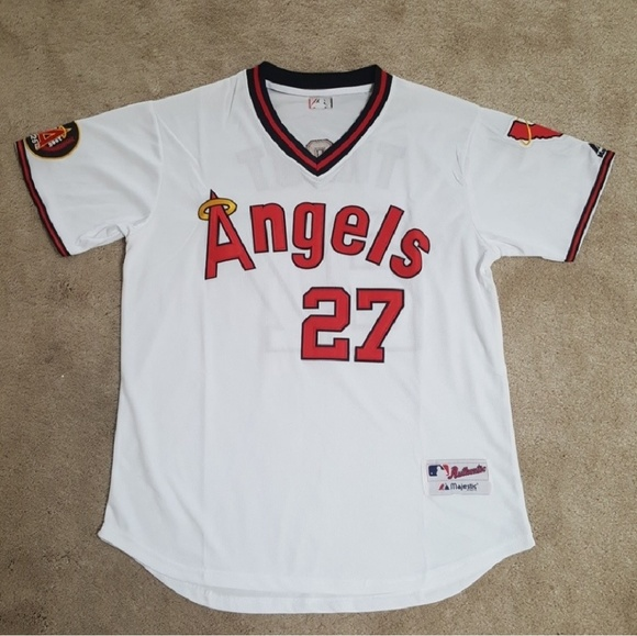 super popular e9d41 983d4 Mike Trout Stitched Angels Throwback Jersey Mens